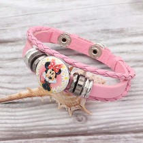 Bracelets en cuir rose KC0529 fit 20mm s'enclenche chunks bouton 1