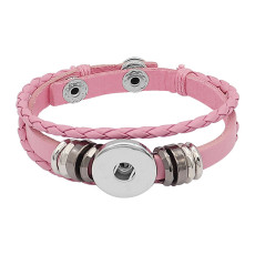 Pink Leather Snap Armbänder KC0529 fit 20mm Snaps Chunks 1-Taste