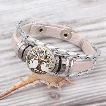 Weiße Leder-Snap-Armbänder KC0528 passen zu 20mm Snaps Chunks