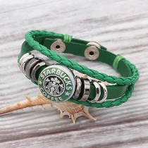 Les bracelets en cuir vert s'adaptent à 1pc. 20mm s'enclenche en gros morceaux KC0527