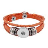 Кожаный браслет с застежкой оранжевого цвета KC0524 с кнопками 1 20 мм с защелками