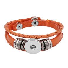Bracelet en cuir avec fermeture éclair KC0524 orange ajusté Boutons 1 Boutons 20mm