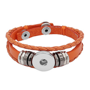Leder Snap Armband orange KC0524 fit 1 Knöpfe 20mm Snaps Chunks