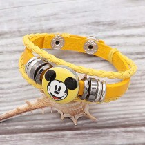 Bracelets pression en cuir jaune KC0526 fit 1pc 20mm s'enclenche chunks KC0526