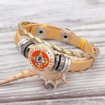 Bracelets en cuir doré KC0530 fit 20mm s'enclenche chunks bouton 1
