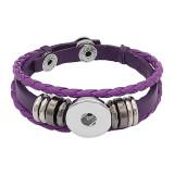 Фиолетовый кожаный оснасточный браслет KC0525 с кнопками 1 20mm защелки