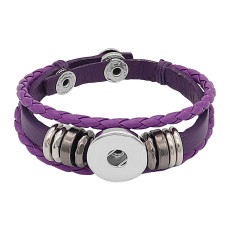 Purple Leather Snap Bracelet KC0525 fit 1 Knöpfe 20mm rastet ein