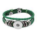 Зеленые кожаные браслеты Snap подходят 1pc 20mm защелки ломтиками KC0527
