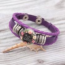 Bracelet en cuir violet KC0525 ajusté boutons 1 20mm s'enclenche gros morceaux