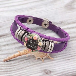 Purple Leather Snap Bracelet  KC0525  fit 1 buttons 20mm snaps chunks