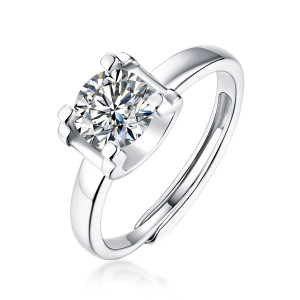0.5 - 3 CT DEF  Moissanite Square ring Sterling Silver classic wedding Rings Platinum plating adjustable size