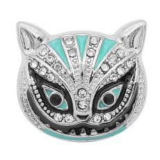 20MM cat snap Silver Plated with Cyan Rhinestone and Enamel charms KC9360 snaps jewerly