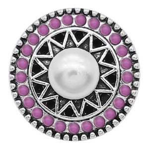 20MM pearl snap Silver Plated with purple beads charms KC9389 snaps jewerly