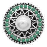 Broche de perlas 20MM Plateado con charms de cuentas verdes KC9392 se ajusta a presión