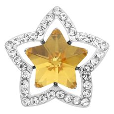 20MM star snap Silver Plated with yellow Rhinestone charms KC9383 snaps jewerly