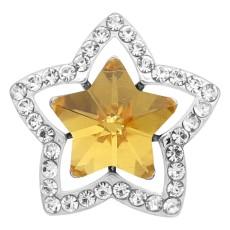 Broche de estrella 20MM Plateado con encantos de diamantes de imitación amarillos KC9383 se ajusta a presión