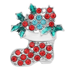 20MM Christmas snap Silver Plated with Rhinestone and Enamel charms KC9352 snaps jewerly