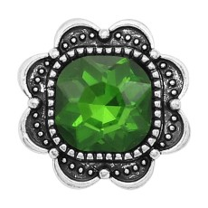20MM design snap Silver Plated with green Rhinestone charms KC9378 snaps jewerly