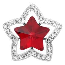 Broche de estrella 20MM Plateado con encantos de diamantes de imitación rojos KC9382 se ajusta a presión