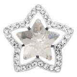 20MM star snap Silver Plated with white Rhinestone charms KC9387 snaps jewerly