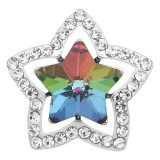 20MM snap star Silver Plated avec charmes strass multicolores KC9385 snaps jewerly