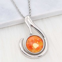 20MM snap Silver Plated With orange Shell charms KC2209 snaps jewerly