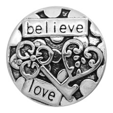 20MM believe snap Silver Plated charms KC9365 snaps jewerly