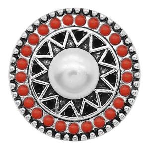 20MM Pearl Snap Versilbert mit roten Perlen Charms KC9390 Snaps Jewerly
