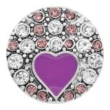 20MM loveheart snap Silver Plated Avec strass et émail violets KC8215 s'enclenche de manière joaillière