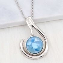 20MM snap Silver Plated With Light blue Shell charms KC2205 snaps jewerly