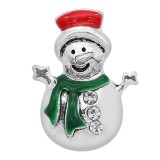 20MM Christmas snap Silver Plated with Enamel charms KC9351 snaps jewerly