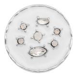 20MM design snap Silver Plated Avec strass blanc et émail KC8216 s'enclenche de manière joaillière