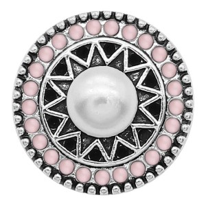 20MM Pearl Snap Versilbert mit rosa Perlen Charms KC9391 Snaps Jewerly
