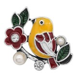 20MM bird snap Silver Plated with pearl and yellow Enamel charms KC9359 snaps jewerly