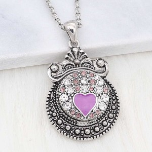 20MM loveheart snap Silver Plated With purple Rhinestone and enamel KC8215 snaps jewerly