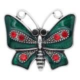 Broche de mariposa 20MM Plateado con encantos de diamantes de imitación y esmalte KC9353 se ajusta a presión