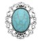 20MM design snap Silver Plated with Cyan Turquoise charms KC9361