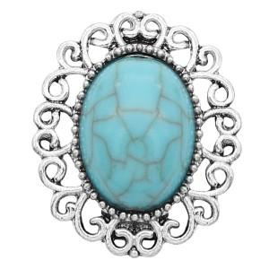 Дизайнерская оснастка 20MM Серебро с голубым бирюзовым шармом KC9361