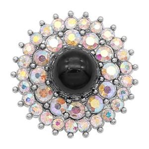 Diseño 20MM snap Plateado con encantos de diamantes de imitación negros KC9374 se ajusta a presión