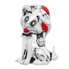 20MM Рождественская собачья защелка Серебро с гальваническим эмалью KC9358 защелкивается