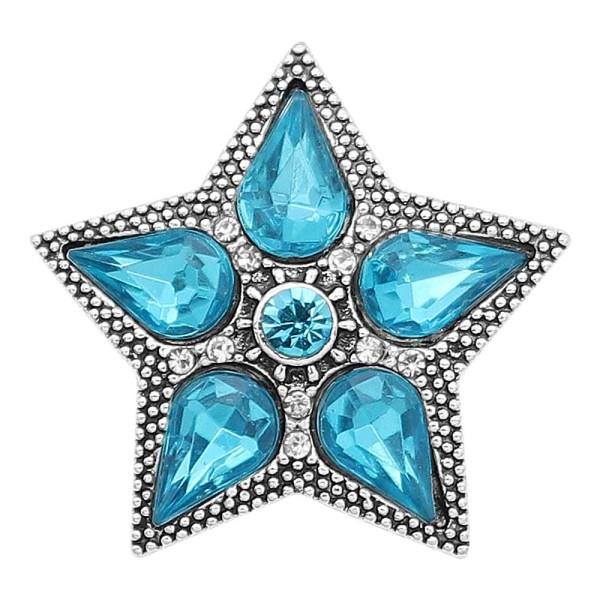 20MM Etoile mousqueton Plaqué argent avec des breloques en strass bleu KC9394 s'encliquette