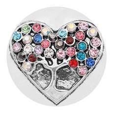 20MM Broche de árbol de la vida plateado con diamantes de imitación multicolores de colores KC8214 se ajusta a presión
