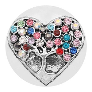 20MM Tree of life snap Silver Plated With Multicolor colorful Rhinestone KC8214 snaps jewerly