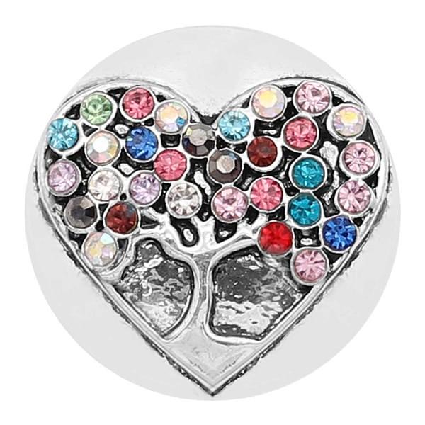 20MM Arbre de vie snap plaqué argent avec strass multicolore coloré KC8214 s'enclenche dans les bijoux