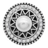 Broche de perlas 20MM Plateado con abalorios de cuentas blancas KC9393 se ajusta a presión