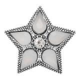 20MM Etoile mousqueton Plaqué argent avec des breloques en strass blanc