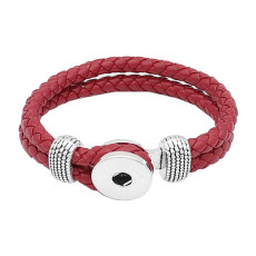 Red Leather Snap bracelets KC0548 fit 20mm snaps chunks 1 button