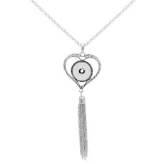 pendant loveheart Necklace with rhinestones and Tassels 80cm chain KC0486 fit 20MM chunks snaps jewelry