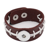 Bracelets de baseball en cuir marron KC0557 fit 20mm s'enclenche chunks bouton 1