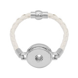 White Leather Snap Armbänder KC0536 fit 20mm Snaps Chunks 1-Taste